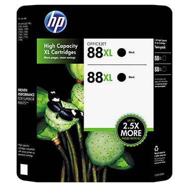 HP 88XL High Yield Original Ink Cartridge, Black (2 pk., 2,450 Page Yield)