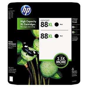 HP 88XL High Yield Original Ink Cartridge, Black (2 pk., 2,450 Page Yield)
