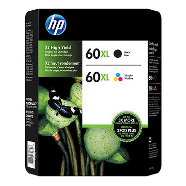 HP 60XL, 2-pack High Yield Black/Tri-color Original Ink Cartridges w/Photo Paper/Envelopes