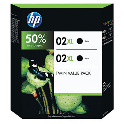 HP 02XL High Yield Original Ink Cartridge, Black (2 pk., 1,000 Page Yield)