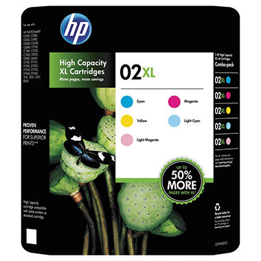 HP 02XL High Yield Color Ink Cartridges - 5 pk.