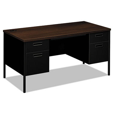 HON Metro Classic Double Pedestal Desk, Columbian Walnut/Black