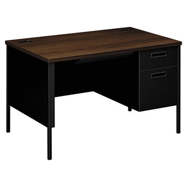 HON - Metro Classic Right Pedestal Desk - Columbian Walnut/Black