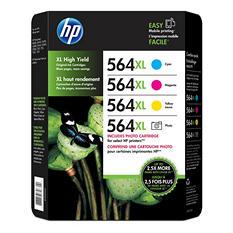 HP 564XL High Yield Original Ink Cyan/Magenta/Yellow/Photo Cartridges, Combo Pack (4 pk., 750 Page Yield)
