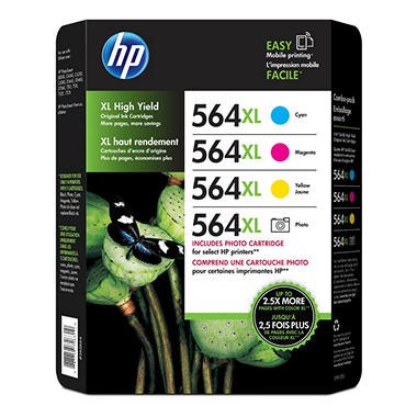 HP 564XL, 4-pack High Yield Cyan/Magenta/Yellow/Photo Original Ink Cartridges w/Photo Paper/Envelopes