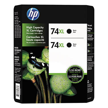 HP 74XL Black Inkjet Print Cartridges - 2 Pack (CH623BN)