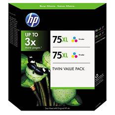 HP 75XL High Yield Original Ink Cartridge, Tri-Color (2 pk., 520 Page Yield)