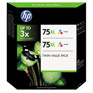 HP 75XL High Yield Original Ink Cartridge, Tri-Color (2 pk., 520 Page Yield)