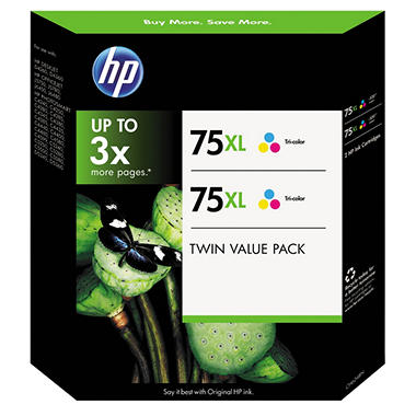 HP 75XL Tri-Color Inkjet Print Cartridges - 2 pk.