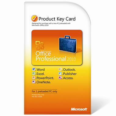Microsoft Office Professional 2010 Product Key Card