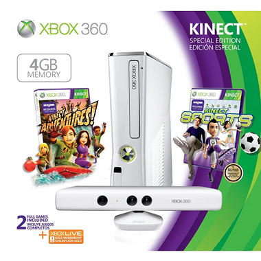 Xbox 360 4GB White Special Edition Kinect Console Bundle