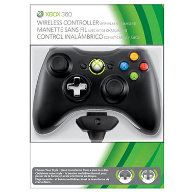 Xbox 360 Black Wireless Controller with Play & Charge Kit