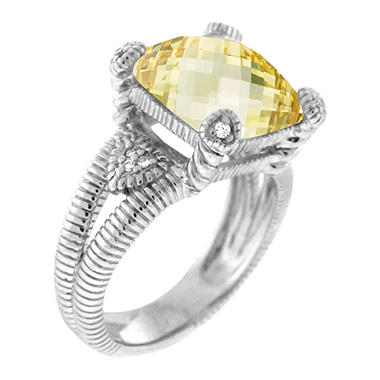 Judith Ripka Canary Crystal Split Shank Fontaine Ring