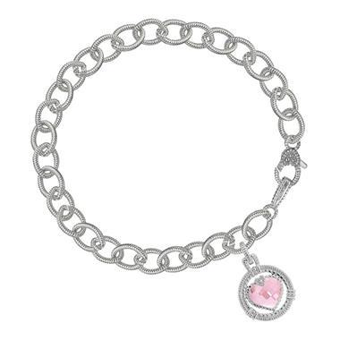 Judith Ripka Athena Pink Crystal Heart Drop Bracelet