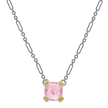 Judith Ripka Pink Crystal Cushion Stone Necklace