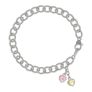 Judith Ripka Canary & Pink Crystal Double Heart Bracelet