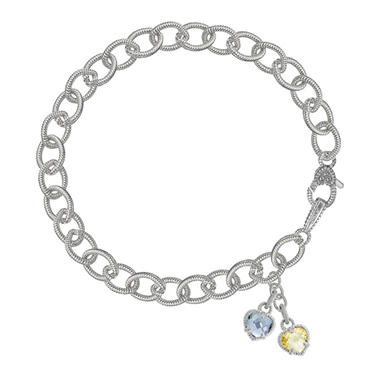Judith Ripka Double Canary Crystal & Blue Quartz Heart Bracelet