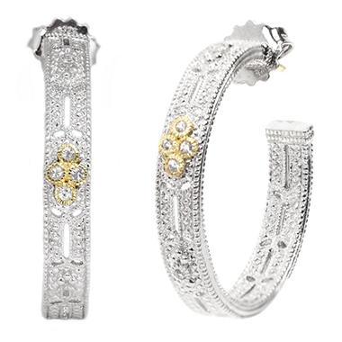 Judith Ripka's Wide Hoop Estate White Sapphire Earrings in Sterling Silver