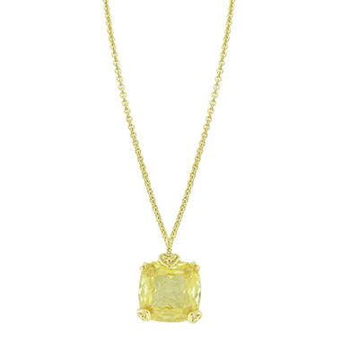 Judith Ripka 14K Gold Fontaine Cushion-Cut Stone Drop Necklace with Canary Crystal