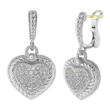 Judith Ripka Pave Heart Drop Earrings with White Sapphire