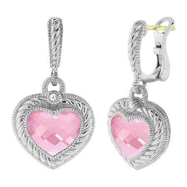 Judith Ripka Stone Heart Drop Earrings with Pink Crystal