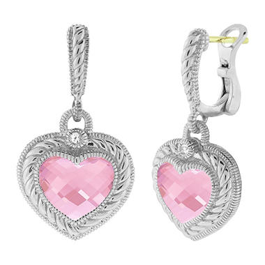 Judith Ripka Stone Heart Drop Earrings with Pink Crystal