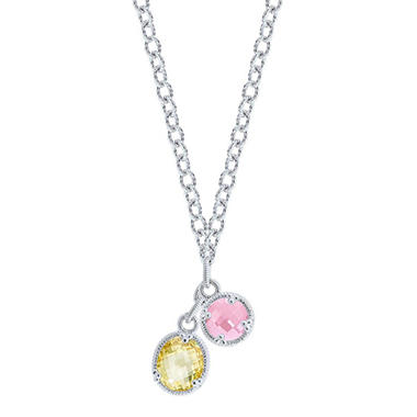 Judith Ripka Two Stone Drop Necklace with Pink and Canary Crystal