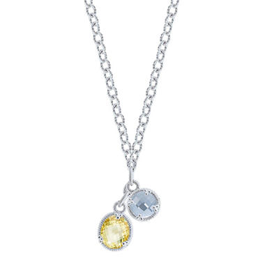 Judith Ripka Two Stone Drop Necklace with Blue Quartz and Canary Crystal