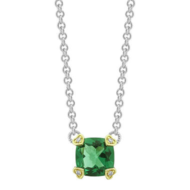 Judith Ripka Cushion Cut Green Quartz & Diamond Accent Necklace in Sterling Silver and 18K Gold