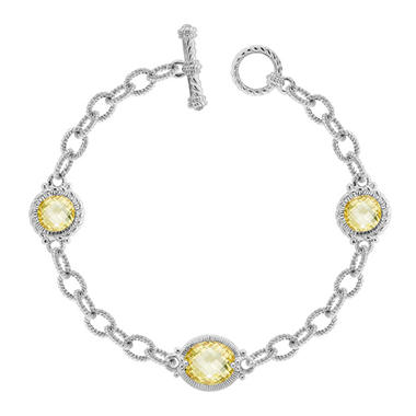 Judith Ripka Three Stone Link Bracelet with Canary Crystal