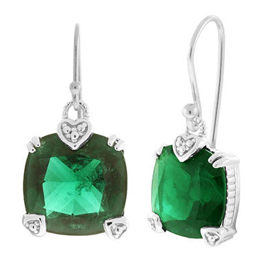 Judith Ripka Fontaine Cushion Cut Green Quartz Earrings in Sterling Silver
