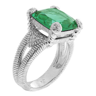 Judith Ripka Split Shank Green Quartz Fontaine Ring in Sterling Silver