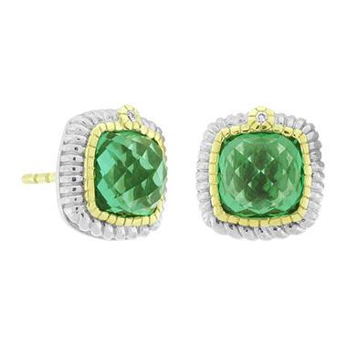 Judith Ripka Sugarloaf Green Quartz Earrings in Sterling Silver & 18K Yellow Gold