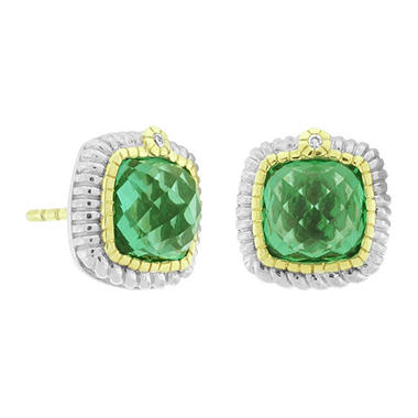 Judith Ripka Sugarloaf Green Quartz Earrings in Sterling Silver & 18K Yellow Gold