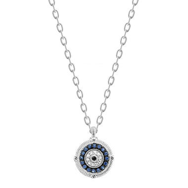 Judtih Ripka Sapphire Evil Eye Necklace in Sterling Silver