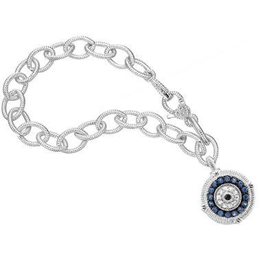 Judith Ripka Sapphire Evil Eye Charm Bracelet in Sterling Silver