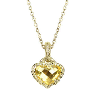 Judith Ripka Heart Shaped Canary Crystal and Diamond Necklace in 14k Yellow Gold