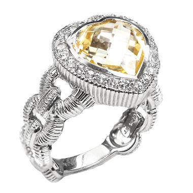 Judith Ripka Heart Canary Crystal  and White Sapphire Ring in Sterling Silver