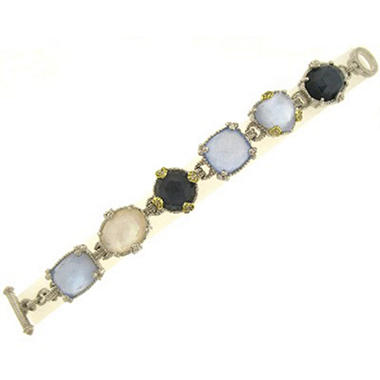 Judith Ripka Ambrosia Multi-Stone Link Bracelet in Sterling Silver and 18K Yellow Gold