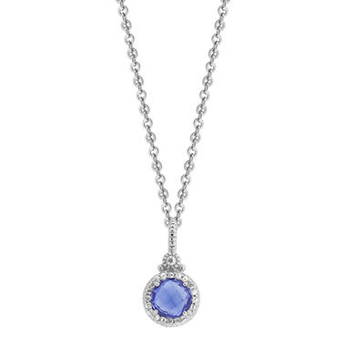 Judith Ripka Round Lab-Created Blue Corundum Necklace with White Sapphire Micro Pave Frame in Sterling Silver