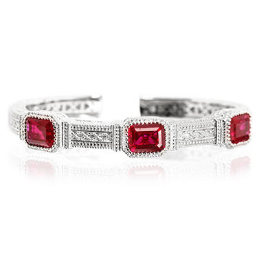 Judith Ripka Three Stone Estate Lab-Created Red Corundum Cuff in Sterling Silver