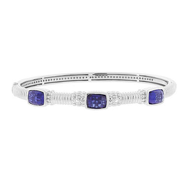 Judtih Ripka Three Stone Bangle with Lab-Created Blue Corundum In Sterling Silver