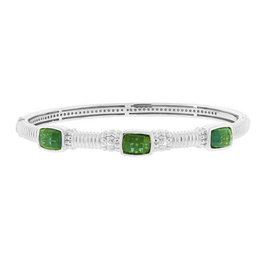 Judtih Ripka Green Quartz Three Stone Bangle Bracelet in Sterling Silver