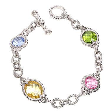 Judith Ripka Multi-Stone Link Bracelet in Sterling Silver