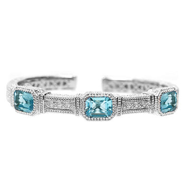 Judith Ripka's Three Stone Estate Blue Topaz Cuff in Sterling Silver