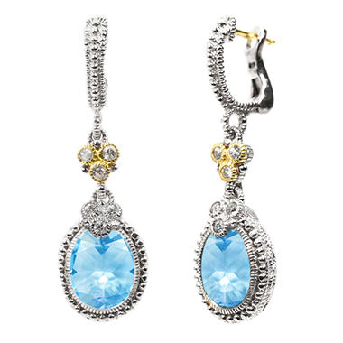 Judith Ripka's Estate Drop Oval Earrings in Blue Topaz and White Sapphire Set in Sterling Silver