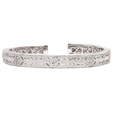Judith Ripka's Estate Cuff Bracelet with White Sapphire in Sterling Silver