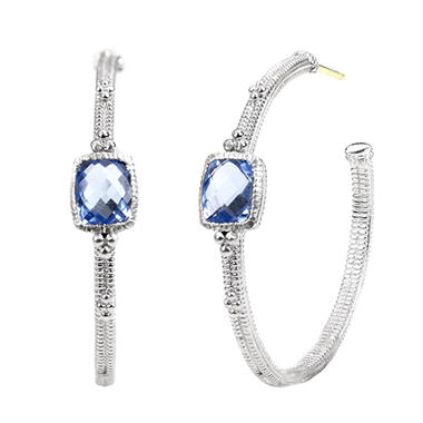 Judith Ripka Cushion Lab-Created Blue Quartz Hoop Earrings in Sterling Silver