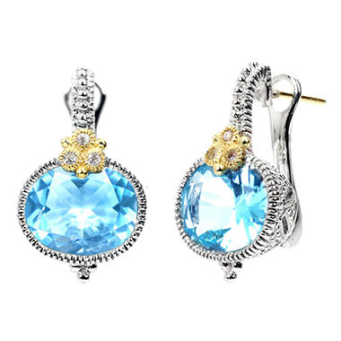 Judith Ripka's Estate Horizontal Oval Blue Topaz Earrings in Sterling Silver