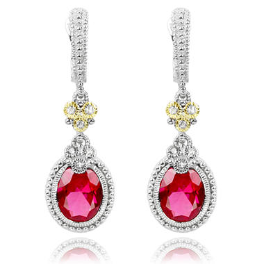 Judith Ripka Three Stone Estate Lab-Created Red Corundum and White Sapphire Earrings in Sterling Silver and 18K Yellow Gold
